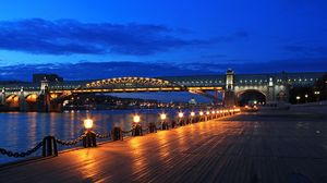 Превью обои москва, мост, пушкинская набережная, ночь