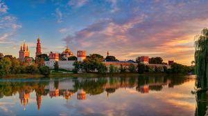Превью обои москва, новодевичий богородице-смоленский монастырь, лето
