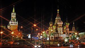 Превью обои москва, россия, красная площадь, свет, вечер