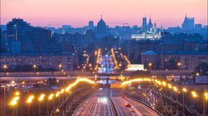 Превью обои москва, россия, мост, ночной город, фонари