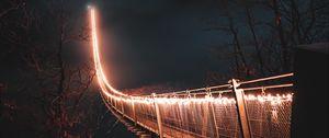 Превью обои мост, ночь, туман, деревья