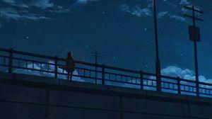 Превью обои мост, одиночество, арт, ночь, небо, фонарь
