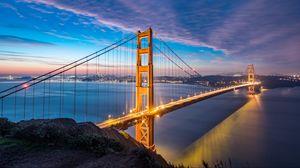 Превью обои мост, рассвет, пролив, золотые ворота, сан-франциско