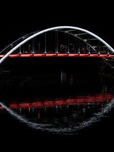 Превью обои мост, свечение, вода, темный