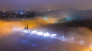 Превью обои мост, туман, ночной город, вид сверху, будапешт, венгрия