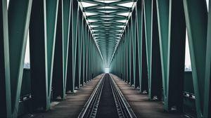 Превью обои мост, железная дорога, конструкция, минимализм, симметрия, будапешт, венгрия