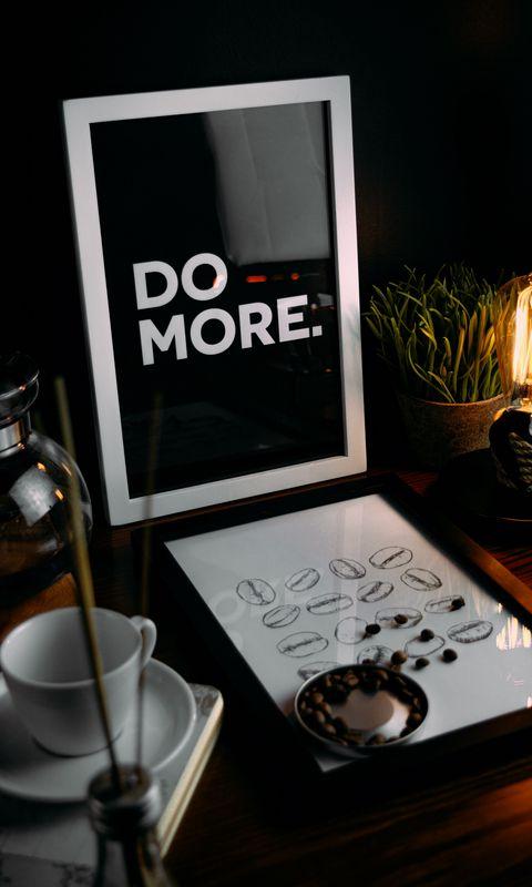 480x800 Обои мотивация, фраза, слова, текст, рамка, кофейные зерна