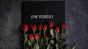 Превью обои мотивация, надпись, табличка, цветы, розы
