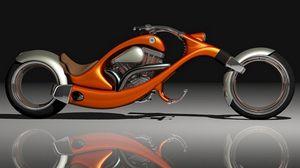 Превью обои мотоцикл, оранжевый, стильный