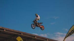 Превью обои мотоспорт, трюк, прыжок