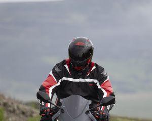 Превью обои мотоцикл, байк, черный, мотоциклист, дорога