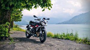 Превью обои мотоцикл, байк, черный, побережье, море