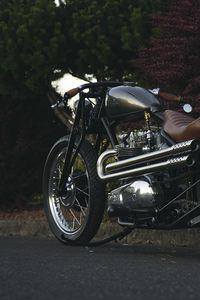 Превью обои мотоцикл, байк, коричневый, хром, дорога