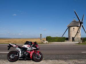 Превью обои мотоцикл, байк, спортбайк, дорога, красный