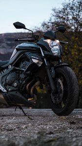 Превью обои kawasaki, мотоцикл, дорога, вид сбоку