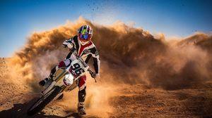 Превью обои мотоцикл, гонка, пыль, мотоциклист, спорт