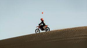 Превью обои мотоцикл, мотоциклист, ралли, песок, пустыня
