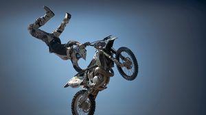 Превью обои мотоцикл, мотоциклист, спорт, трюк, прыжок