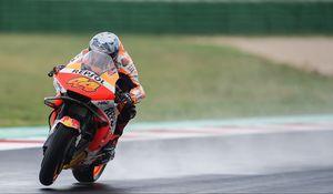 Превью обои мотоцикл, оранжевый, мотоциклист, скорость, гонка