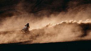 Превью обои мотоциклист, мотоцикл, гонки, мотоспорт, спорт