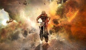 Превью обои мотоциклист, мотоцикл, вертолеты, искры, огонь, дорога