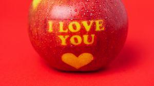 Превью обои яблоко, надпись, любовь, послание, красный