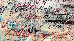 Превью обои надписи, стена, краска