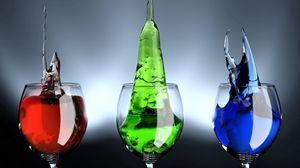 Превью обои напитки, бокалы, цветные