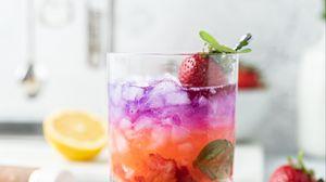 Превью обои напиток, клубника, лед, фрукты, мята