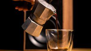 Превью обои напиток, кофе, чашка, чайник, кофейные зерна