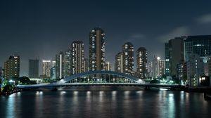 Превью обои небоскребы, мост, ночной город, река, токио, япония