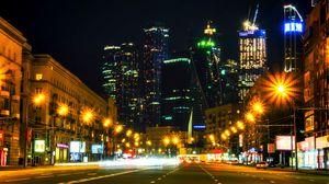 Превью обои небоскребы, ночной город, архитектура, огни города, москва, россия