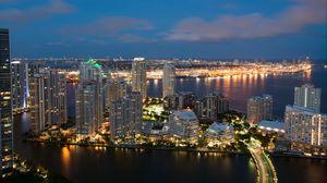 Превью обои небоскребы, ночной город, огни города, архитектура, майами