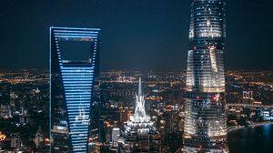 Превью обои небоскребы, ночной город, огни города, вид сверху, мегаполис