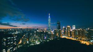 Превью обои небоскребы, ночной город, вид сверху, архитектура, тайбэй, тайвань, китай