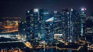 Превью обои небоскребы, ночной город, вид сверху