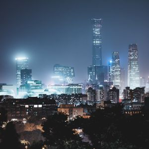 Превью обои небоскребы, ночной город, здания, свечение, ночь