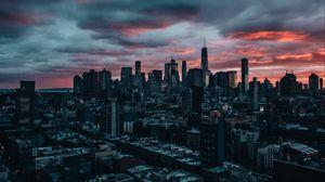 Превью обои небоскребы, сумерки, город, облака, нью-йорк