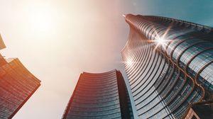 Превью обои небоскребы, вид снизу, архитектура, солнечный свет