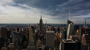 Превью обои небоскребы, вид сверху, архитектура, здания, манхэттен, нью-йорк, сша