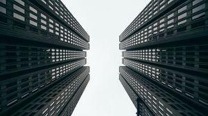 Превью обои небоскребы, здания, вид снизу