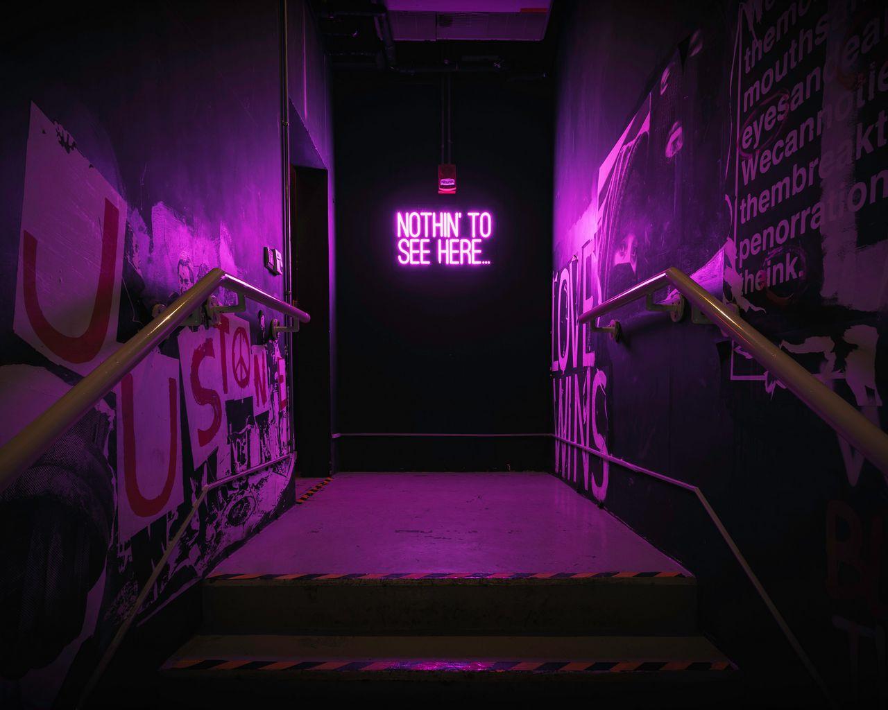 1280x1024 Обои неон, надпись, стена, фиолетовый, подсветка