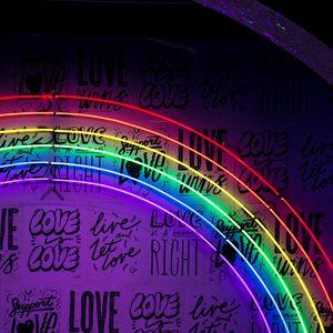 Превью обои неон, надписи, радуга, стена, подсветка