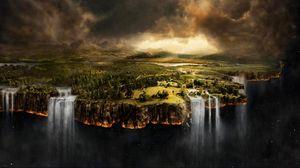 Превью обои невесомость, земля, водопад, обрыв, тучи