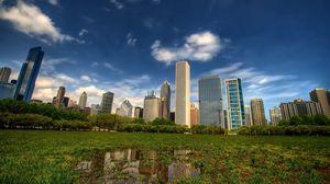 Превью обои new york, manhattan, небоскребы, центральный парк, central park, трава, hdr