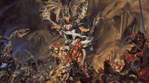 Превью обои нежить, демон, скелеты, воины, сражение, лошади