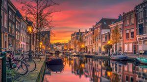 Превью обои нидерланды, голландия, канал, река, здания