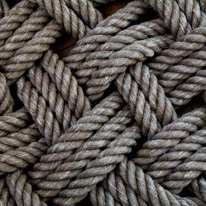 Превью обои веревка, нити, переплетение, макро, текстура, коричневый