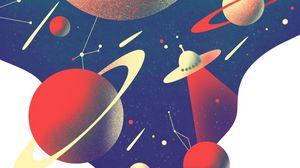 Превью обои нло, планеты, космос, черная дыра