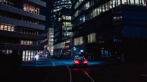 Превью обои ночь, город, автомобиль, движение, здания